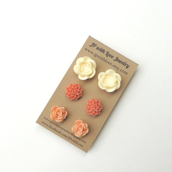 Flower Stud earrings, Stud earrings, Post earrings, gifts for her