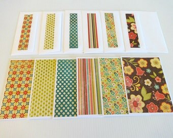 Blank Note Cards, Set of 6 Note Cards with Matching Envelopes, Note Card Set, Pocket Full of Posies