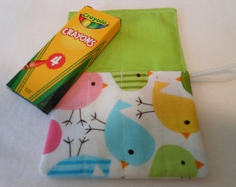 Spring Birds, Mini Crayon Roll Up Holder With 4 Pockets With Crayon