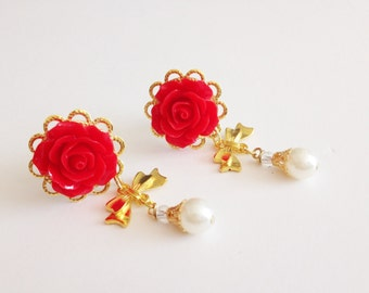 "24 Rose Colors 000g 7/16 Dangly Plugs 1/2 inch Dangle Plugs with Gold Bows And Pearls 14mm 9/16"" Ear Plugs Body Jewelry Gauges with Dangles"