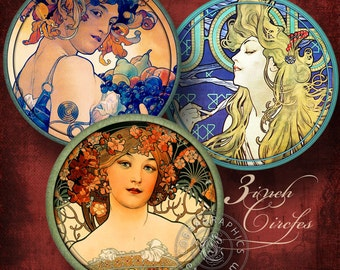 Alphonse Mucha - 3 inch circles - Digital Collage Sheets CG-723 - Printable Images for Round Coasters, Arts and Crafts - Instant Donwload