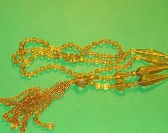 Art Deco Downton Abbey Flapper Gatsby Era Glass Sautoir Necklace Drops Gold Amber  tone