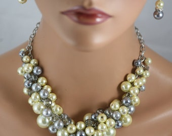 Cluster necklace in yellow grey and pewter with crystals-bridesmaid necklace- wedding jewelry