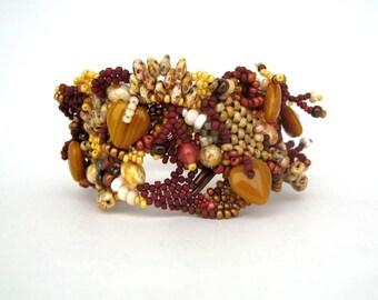 Seed bead bracelet, Boho jewelry, Brown beaded bracelet, Womens bracelet, Handmade jewelry