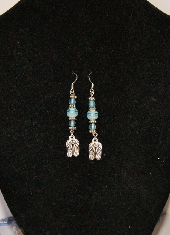 Spring Design // Sterling Silver blue glass beaded dangle earrings // Flip flop charms // Beach thong charms // Fashion accessory