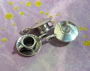 3 Tea Cup Charms - Alice in Wonderland D.I.Y. Mad Tea Party 3 D full Design Silver or Bronze Finish