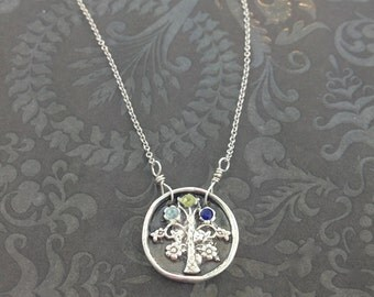 Tree of Life Necklace with 3 stones, family necklace, gift for mom, the mighty oak, family tree