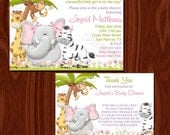 Jungle Girl Baby Shower Invitation and Thank You Card set