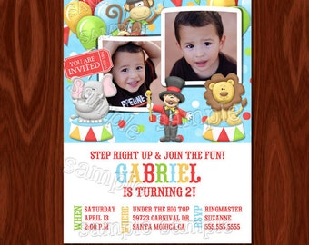 Carnival Circus Birthday Invitation printable digital file