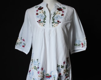 White Blouse Top T-shirt Tunic Cotton Shirt Embroidered Mexican Style Maternity Tunic Women Shirt