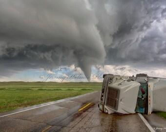 Fine Art Print of a supercell Tornado that rolled a semi truck in Nebraska