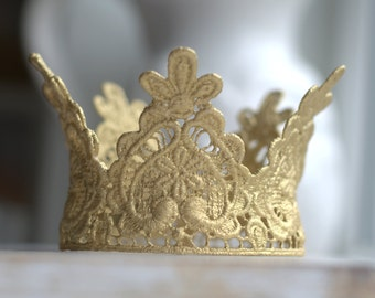 Newborn Lace Crown. Lace Crown. Baby Lace Crown. Gold Lace Crown. Large Lace Crown. Gold Crown. Crowns. Photography Prop. UK SELLER