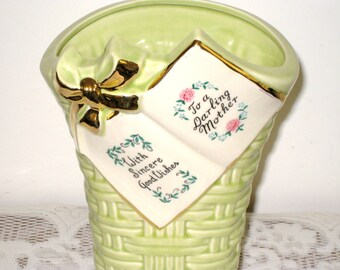 "Vase For Mother / Art Pottery Tall Basket Weave / Marietta Pottery, Ohio  9 3/4"" Tall / Pastel Green / Vintage Mother's Day Gift"