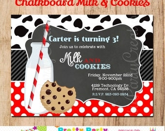 CHALKBOARD MILK and COOKIES invitation - You Print
