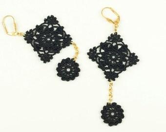 Earrings-Victorian Crochet Lace Earrings, Black Crochet Earrings, Statement Earrings, Black Lace Earrings, Dangle Earrings, Fiber Jewelry