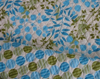 Double Faced Quilted Fabric - Cream, Blue, Green Polka Dots and Leaves - By the yard