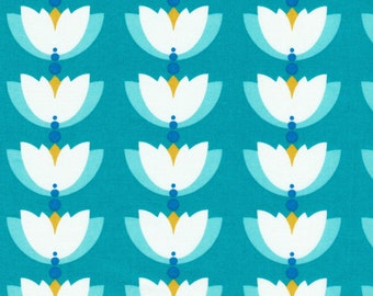 Lotus Pond Lotus Drop in Turquoise, Rae Hoekstra, 100% GOTS-Certified Organic Cotton, Cloud9 Fabrics