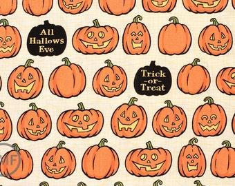 Witch Hazel Witch Pumpkins in Cream, October Afternoon, Riley Blake Designs, 100% Cotton Fabric, C3933-Cream