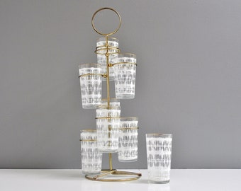 Mid-Century Tumblers with Brass Carrying Caddy