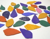 Leather Leaf (50pcs.)Genuine Leather/Applique/For Accessories,Flowers,Decorations,Jewelry,Bags..