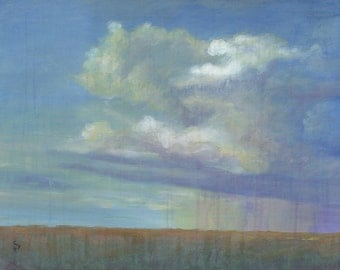 Original Storm Clouds Landscape Painting - Rainships