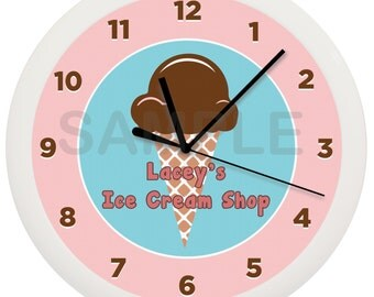 ICE CREAM Cone Wall Clock Personalized