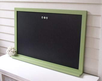 Magnetic Chalkboard Message Center Kitchen Menu Sage Green Furniture Grade Solid Wood Frame 26.5 x 38.5 - Bulletin Board Key Shelf Ledge Pen