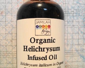 Infused Organic Helichrysum in 100% Organic Unrefined Olive Oil - Amazing Skin Healing - Helichrysum Massage Oil - Spot Oil, 2 oz./60 ml.