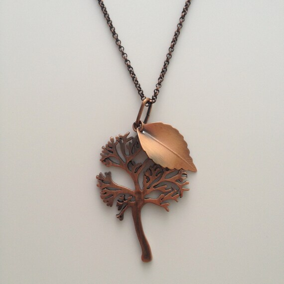 Copper Tree and Leaf Necklace