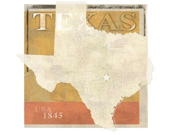 Texas Art Print  -11x14 or 16x20 -State of Texas