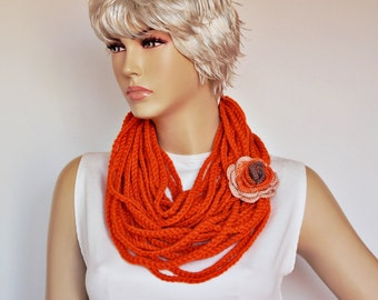 Chain lariat infinity  necklace scarf , crochet lariat scarf ,crochet jewelry  scarf,gift