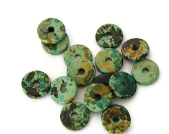 20pcs Green Round Ceramic Beads, Green Spotted Ceramic Discs, Green  ceramic spacers C 10 119