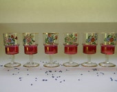 CORDIALS, 6 Floral and Red Flash Cordials