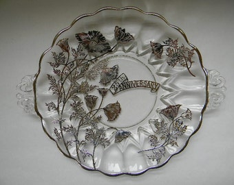 Silver Overlay 25th Anniversary Handled Serving Plate
