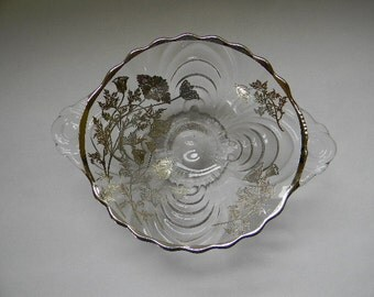 Silver Overlay Swirl Design Glass Footed Bowl