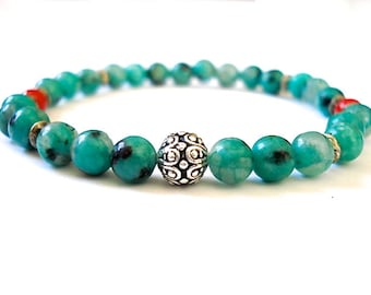 Healing Yoga Bracelet, Aqua Howlite, Red Coral, Gemstone Bracelet for Healing and Well Being