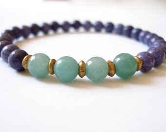 Purple Howlite Yoga Bracelet, Purple Howlite, Green Aventurine, Brass Beaded Bracelet