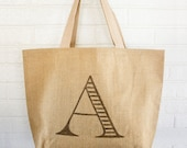 Custom Monogram Burlap Tote Bag
