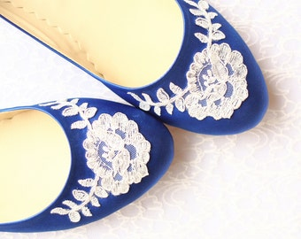 Wedding Flat Shoes Cobalt Blue Satin Bridal Ballet Flats with Lace Bride Engagement Special Night Size 10 (US)