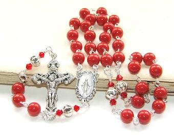 3 Decade Catholic Rosary Beads, Red Swarovski® Crystal Pearls, Confirmation / RCIA Gift