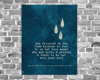 Inspirational Typography Poster Digital Art Print Navy Blue Rain Raindrops Weather Home Wall Decor Rustic