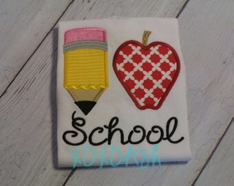 Back to School--I Love School with Apple--Embroidered shirt or Bodysuit