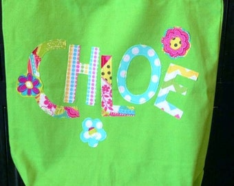 Fun Easter basket -  Funky bag, lime green, blue or hot pink personalized with applique first name - fun beach bag, dance, purse, diaper bag
