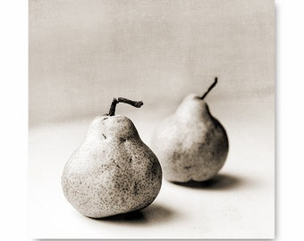 Pear photo, sepia print, black and white food art nature print, fine art photographyt, food photography rustic pear print, kitchen decor