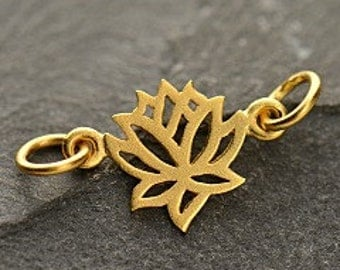 24K Gold Plated Sterling Silver Lotus Link - Lotus Flower, Lotus Connector, 2 Hole Lotus, Yoga Charms, Flower Charms, Connector Charms, Gold