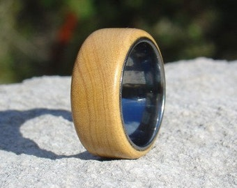 Wood Ring Size 6 - Olive wood and tungsten ring