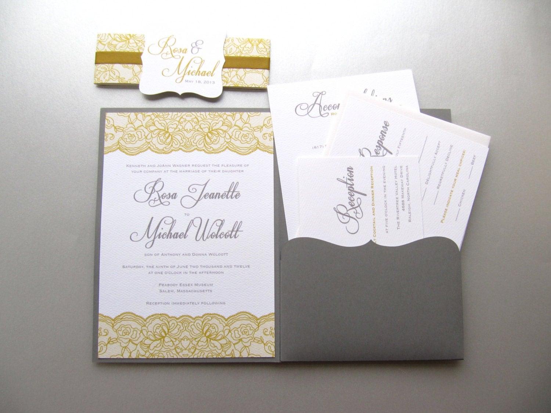 Lace Classic Wedding Invitation Pocket Fold By JutingDesignStudio