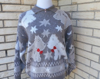 Scottie Dog Sweater 1980s Rhinestone Embellished Tacky Pullover Collared Womens Vintage Large