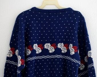 1980s Pullover Sweater Crewneck Jumper Cobalt Blue Roses Hearts Ski Womens Vintage Large Allen Lolly