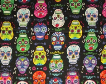 Skulls Sugar Day Of The Dead Black Packed Cotton Fabric Fat Quarter or Custom Listing